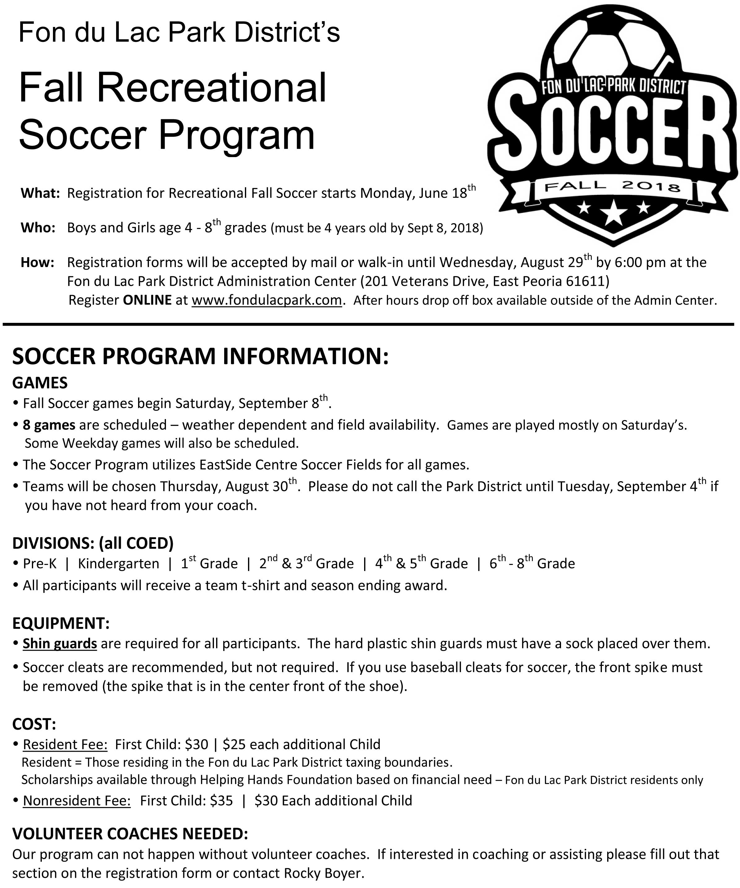 Fall Soccer Welcome To Fondulac Park